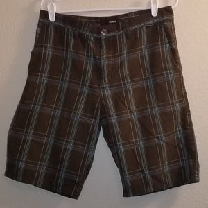 Hurley Plaid brown/teal mens shorts size 31